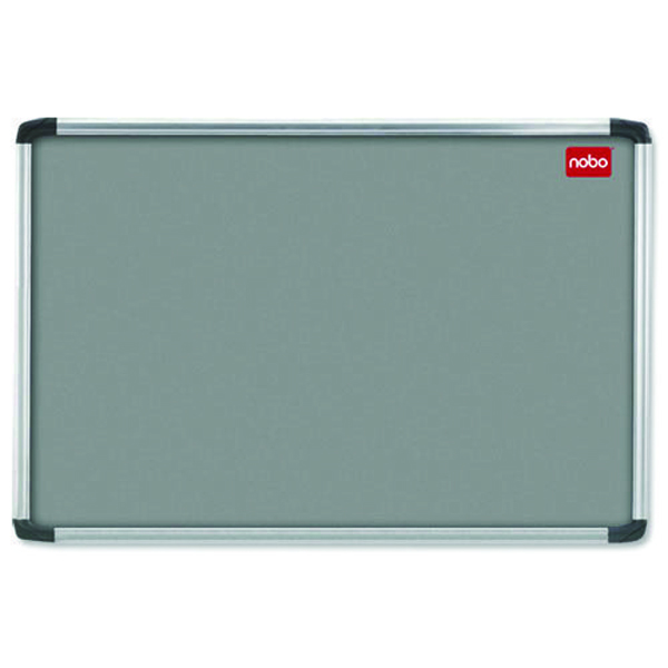 Aluminium Frame Nobo EuroPlus Grey Felt Noticeboard with Fixings and Aluminium Frame, 1200 x 900 mm