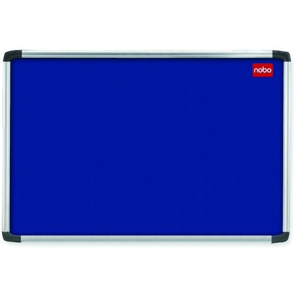 Aluminium Frame Nobo EuroPlus Blue Felt Noticeboard with Fixings and Aluminium Frame, 900 x 600 mm