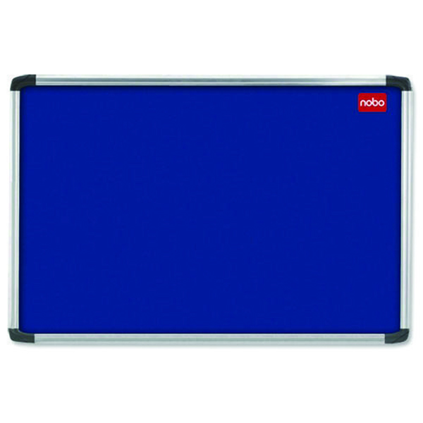 Aluminium Frame Nobo EuroPlus Blue Felt Noticeboard with Fixings and Aluminium Frame, 1200 x 900 mm