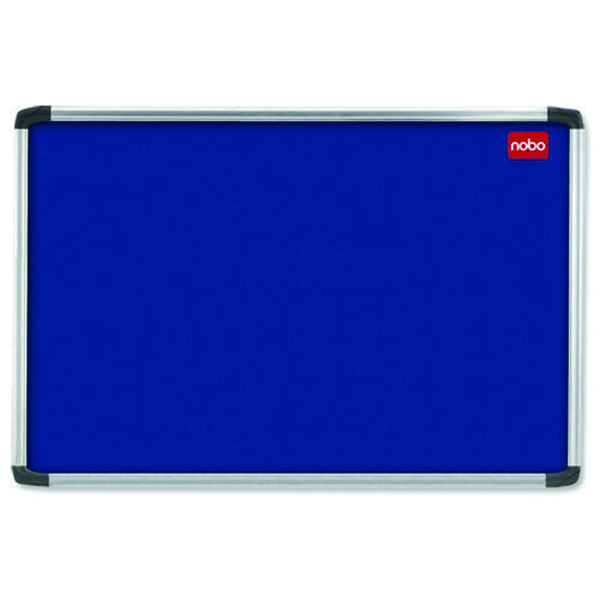 Aluminium Frame Nobo EuroPlus Blue Felt Noticeboard with Fixings and Aluminium Frame, 1800 x 1200 mm