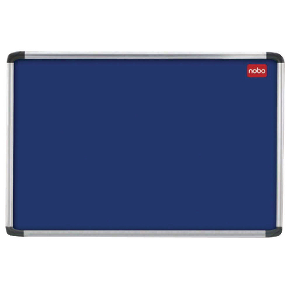 Aluminium Frame Nobo EuroPlus Blue Felt Noticeboard with Fixings and Aluminium Frame, 2400 x 1200 mm
