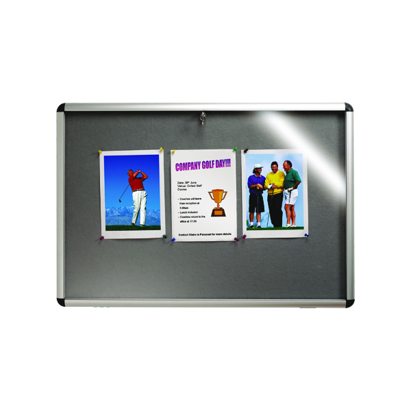 Glazed Nobo Internal Display Case A1 Grey Felt. 745 x 1025mm