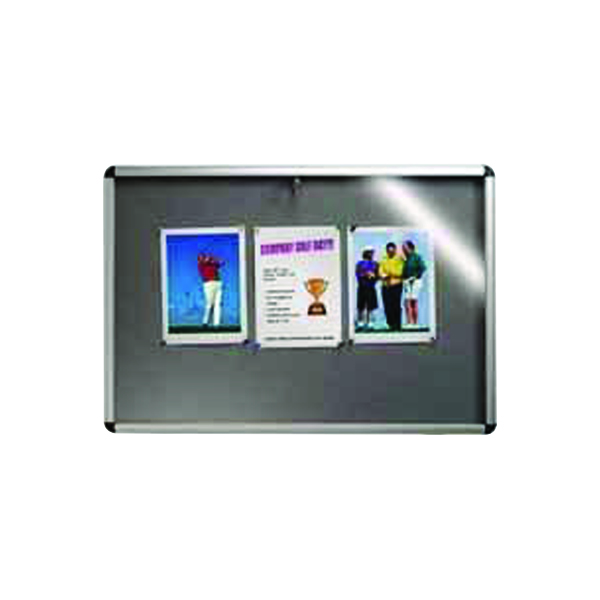 Glazed Nobo Internal Display Case A0 Grey Felt. 1060 x 1350mm