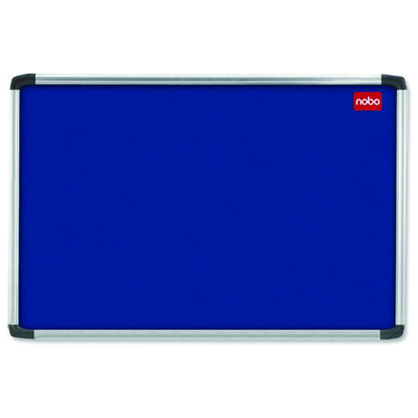 Aluminium Frame Nobo EuroPlus Blue Felt Noticeboard with Fixings and Aluminium Frame, 1500 x 1000 mm
