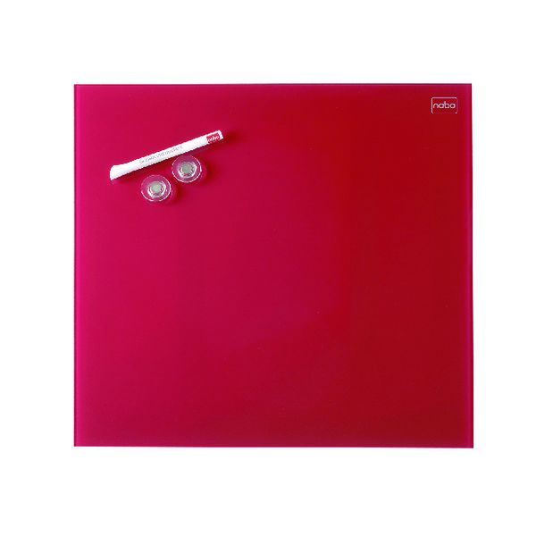 Nobo Diamond Glass Magnetic Whiteboard 300x300mm Red 1903954