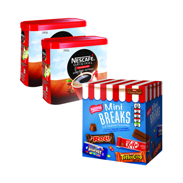 Nescafe Original 2x750g FOC Mini Breaks Mixed Selection (24 Pack) NL819841