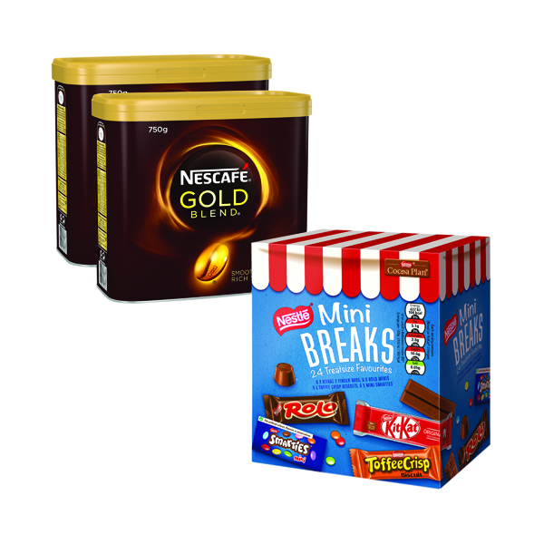 Nescafe Gold Blend 2x750g FOC Mini Breaks Mixed Selection (24 Pack) NL819842