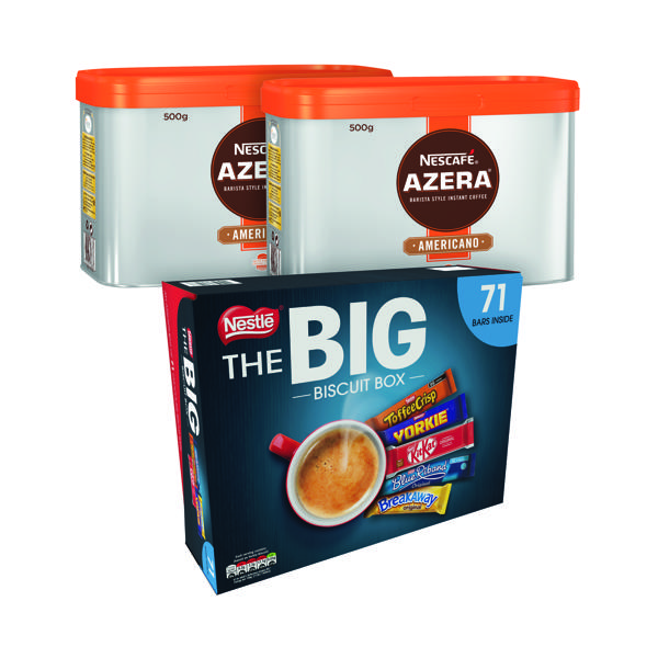 Nescafe Azera Americano 500g (2 Pack) NL81950 FOC Nestle Big Biscuit Box 12391006