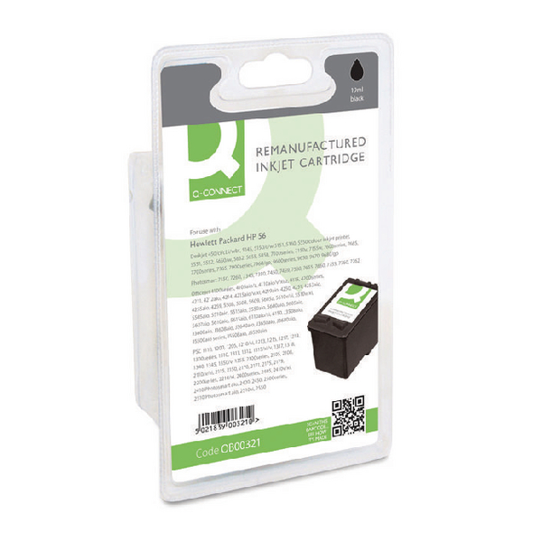 Black Q-Connect HP 56 Reman Black Inkjet Cartridge C6656AE