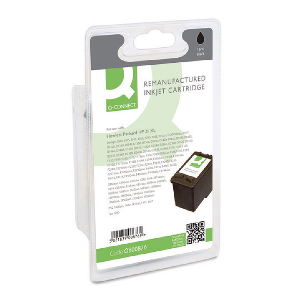 Black Q-Connect HP 21 Reman Black Inkjet Cartridge C9351AE