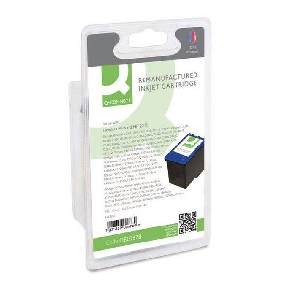 Colour Q-Connect HP 22 Reman Colour Inkjet Cartridge C9352AE