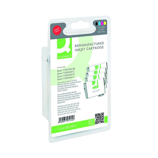Assorted Q-Connect Epson T129540 Ink Cartridge Pack KCMY (4 Pack) T129540-COMP
