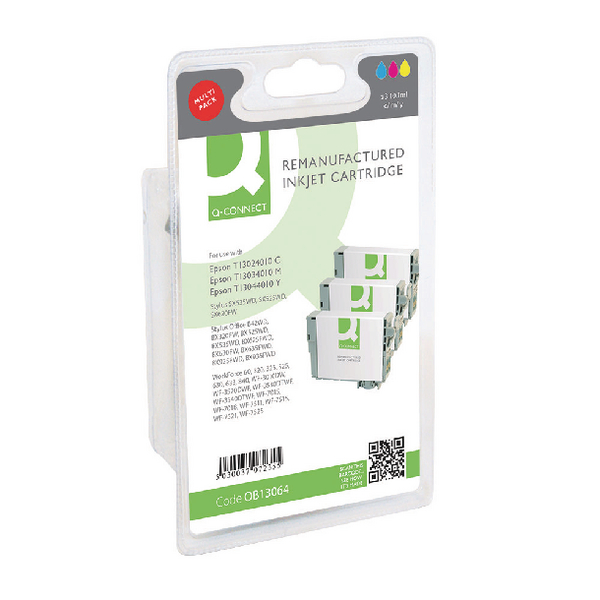Q-Connect Epson T130640 XHY Ink Cartridge Pack CMY (3 Pack) T130640-COMP