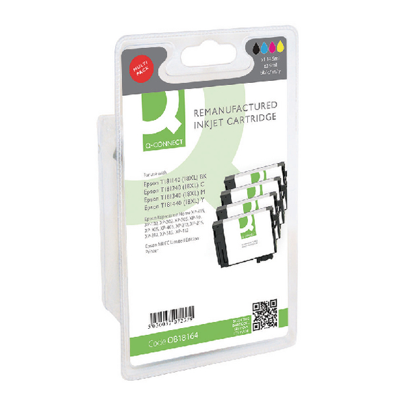 Q-Connect Epson T181640 HY Ink Cartridge Pack KCMY (4 Pack) T181640-COMP