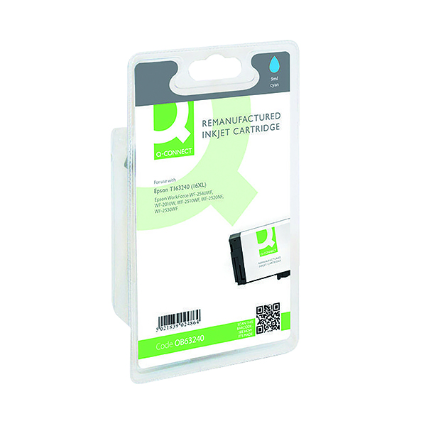 Colour Q-Connect Epson 16XL Reman Cyan High Yield Inkjet Cartridge C13T16324010 / T163240