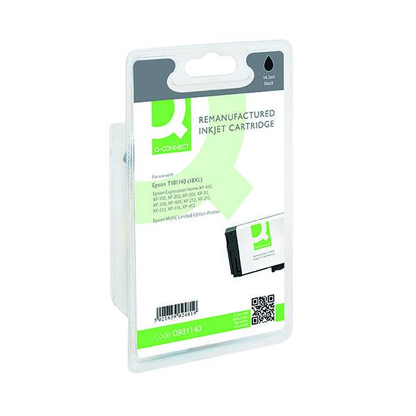 Black Q-Connect Epson 18XL Reman Black High Yield Inkjet Cartridge C13T18114010 / T181140