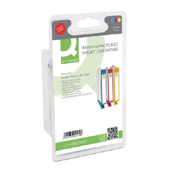 Q-Connect HP 920XL Reman Cyan/Magenta/Yellow Inkjet Cartridges High Yield (3 Pack) C2N92AE