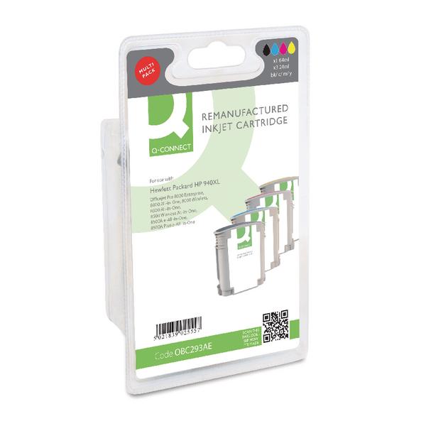 Q-Connect HP 940XL Reman Cyan/Magenta/Yellow/Black Inkjet Cartridges High Yield (4 Pack) C2N93AE