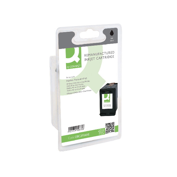 Black Q-Connect HP 62 Black Inkjet Cartridge C2P04AE