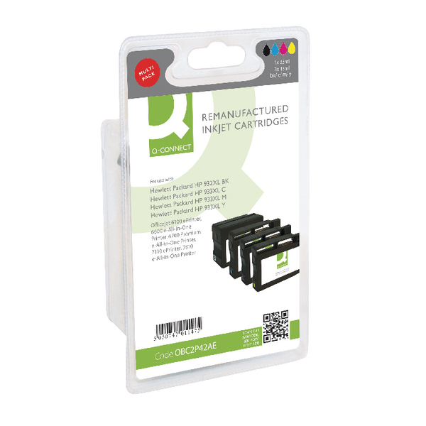 Assorted Q-Connect HP 932XL/933XL Inkjet Cartridge Colour (4 Pack) C2P42AE-COMP