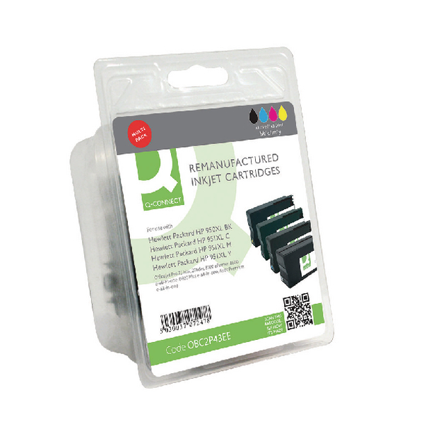 Assorted Q-Connect HP 950XL 951XL Ink Cartridge Pack KCMY (4 Pack) C2P43AE-COMP