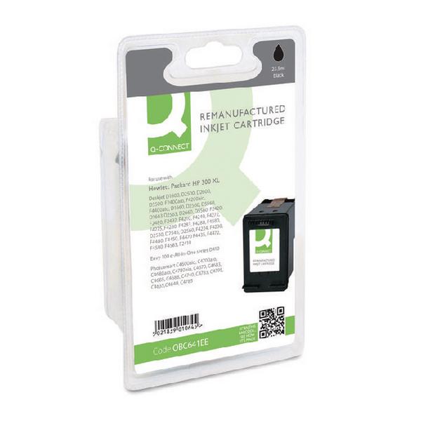 Black Q-Connect HP 300XL Reman Black High Yield Inkjet Cartridge CC641EEABB