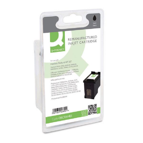 Black Q-Connect HP 337 Reman Black Inkjet Cartridge C9364EE
