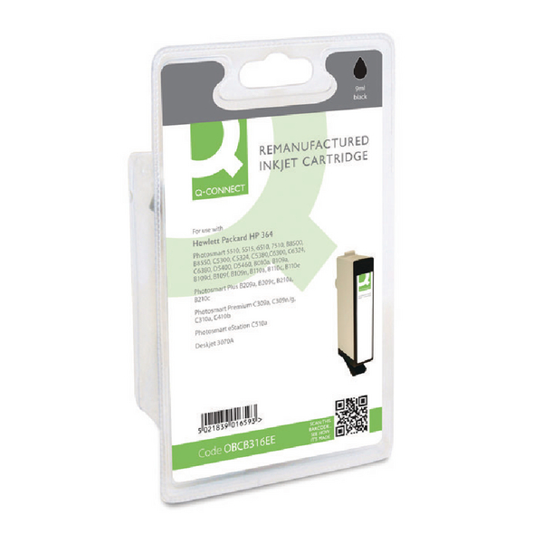 Q-Connect HP 364 Reman Black Inkjet Cartridge CB316EE