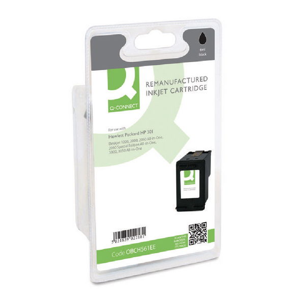 Q-Connect HP 301 Reman Black Inkjet Cartridge CH561EE