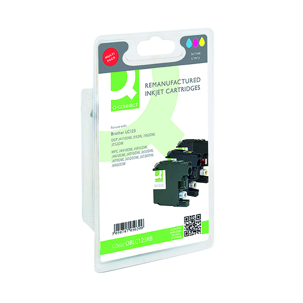 Inkjet Cartridges Q-Connect Brother LC123 Ink Cartridges Multi-Pack LC123RBWBP-COMP