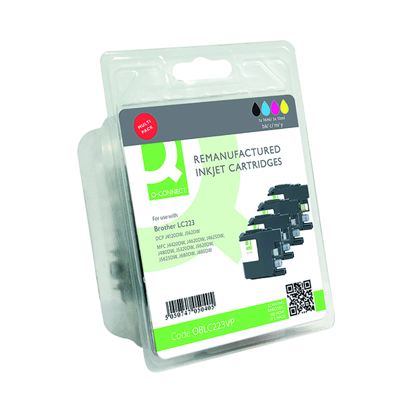 Inkjet Cartridges Q-Connect Brother LC223 Ink Cartridges Multi-Pack LC223VALBP-COMP