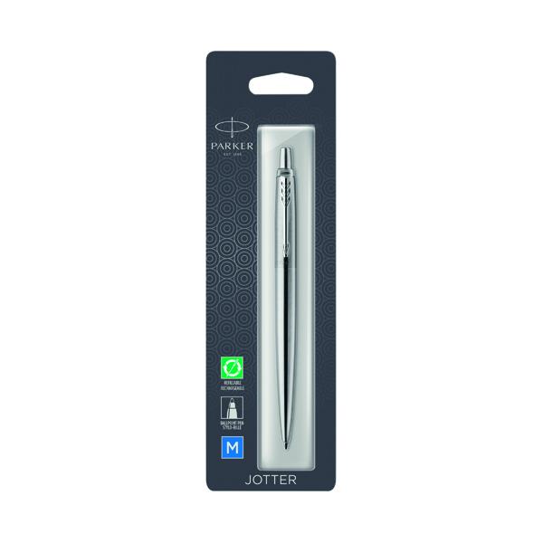 Parker Jotter Stainless Steel Chrome Trim Ballpoint Pen Hangsell 1953205