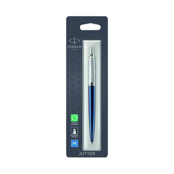 Parker Jotter Royal Blue Chrome Trim Ballpoint Pen Hangsell 1953209