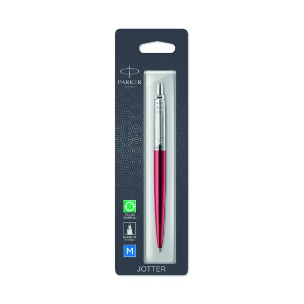 Parker Jotter Kensington Red Chrome Trim Ballpoint Pen Hangsell 1953241