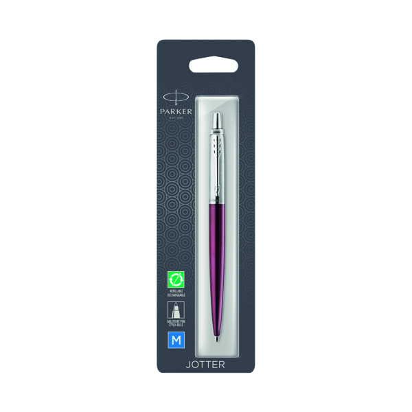 Parker Jotter Portobello Purple Chrome Trim Ballpoint Pen Hangsell 1953246