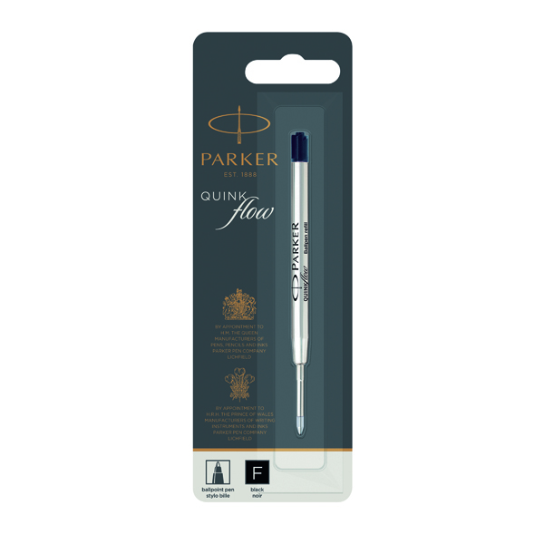 Parker Quink Ballpoint Pen Refill Fine Black Blister (12 Pack) 1950367