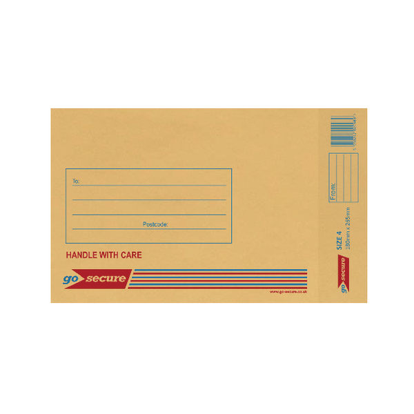 GoSecure Bubble Lined Envelope Size 4 180x265mm Gold (20 Pack) PB02152