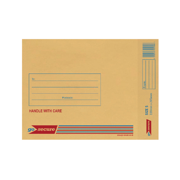 GoSecure Bubble Lined Envelope Size 5 220x265mm Gold (20 Pack) PB02153