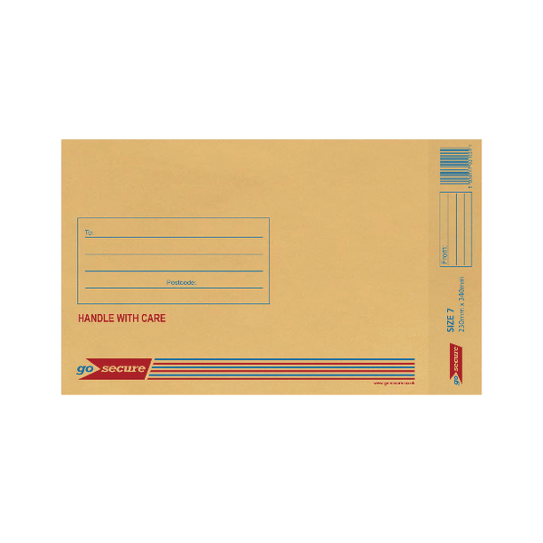 GoSecure Bubble Lined Envelope Size 7 230x340mm Gold (20 Pack) PB02154
