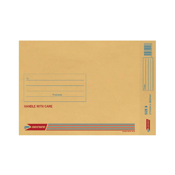 GoSecure Bubble Lined Envelope Size 8 270x360mm Gold (20 Pack) PB02155