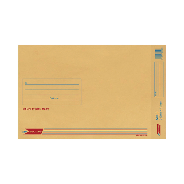 GoSecure Bubble Lined Envelope Size 9 300x445mm Gold (20 Pack) PB02156