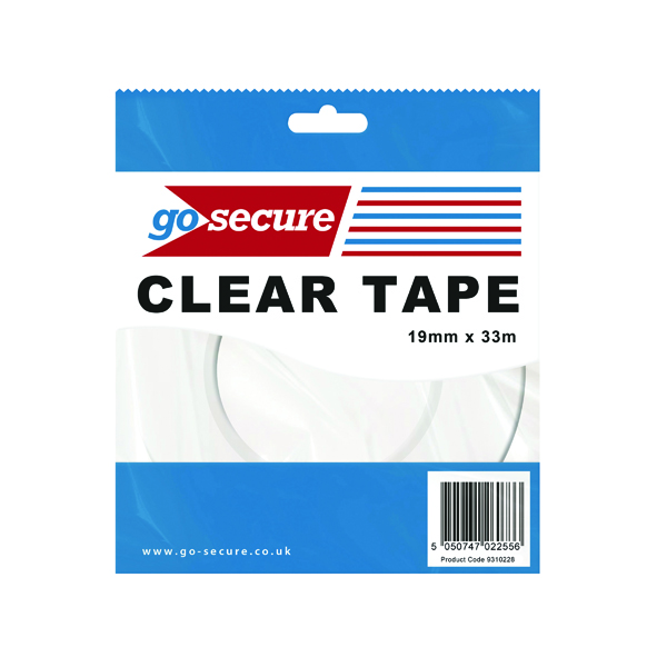 Packing Tape GoSecure Small Tape 19mmx33m Clear (12 Pack) PB02298