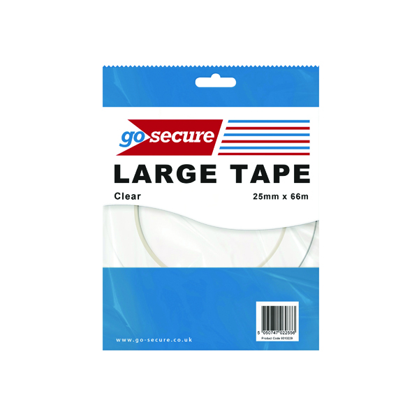 GoSecure Large Tape 25mmx66m Clear (24 Pack) PB02299