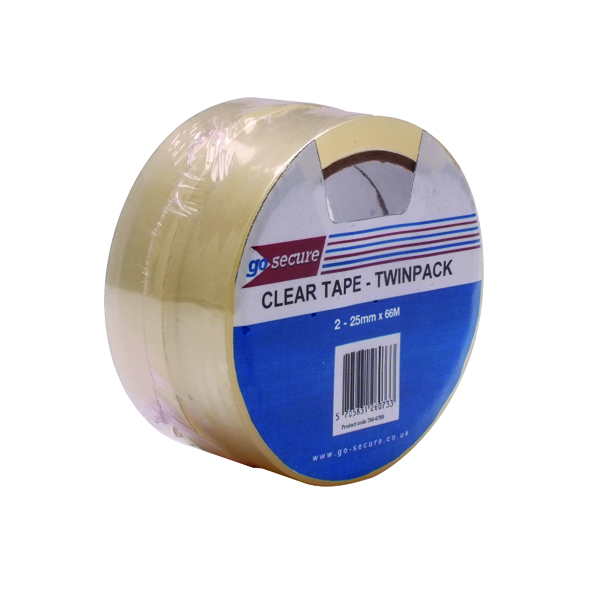 GoSecure Twin Pack Tape 25mmx66m Clear (6 Pack) PB02305