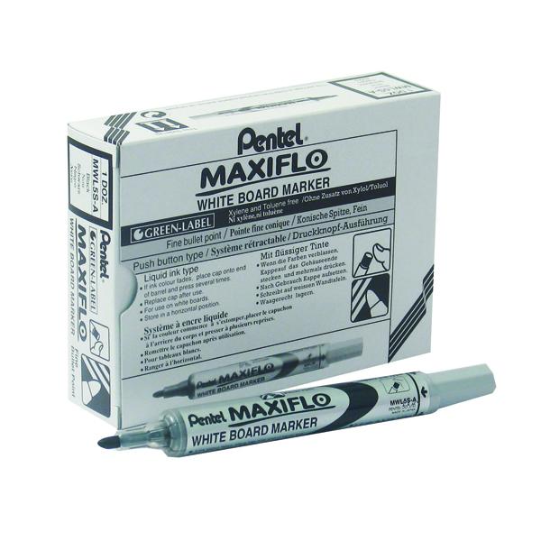 Pentel Maxiflo Whiteboard Marker Fine Black (12 Pack) MWL5S-A