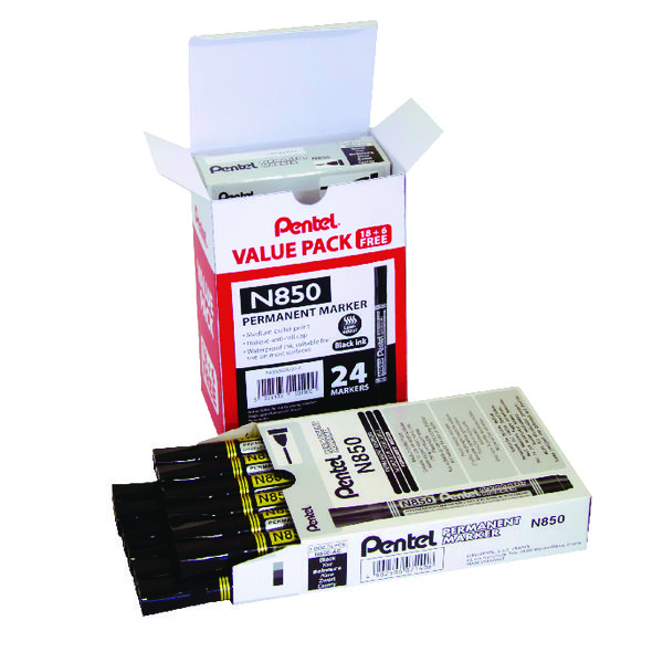 Pentel N850 Permanent Marker Bullet Tip Black (24 Pack) N850/24-A