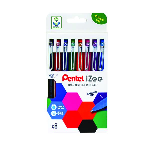 Assorted Pentel iZee Ballpoint Pen 1.0mm Assorted (8 Pack) YBX460/8-M