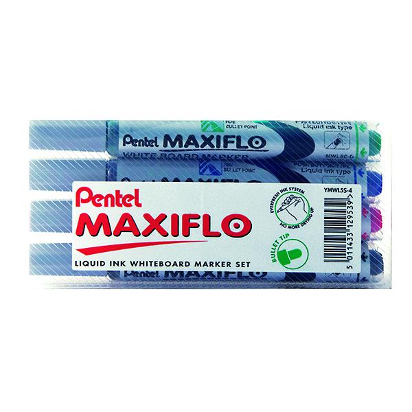 Drywipe Markers Pentel Maxiflo Whiteboard Marker Fine Assorted (4 Pack) YMWL5S-4