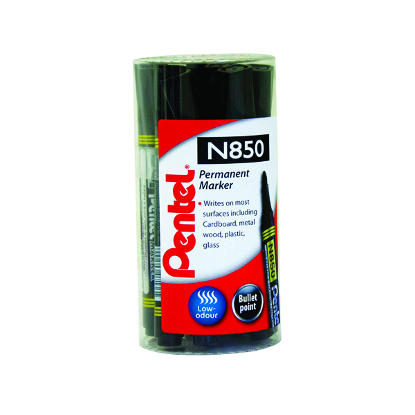 Pentel N850 Permanent Marker Bullet Tip Black (12 Pack) N850T12-A