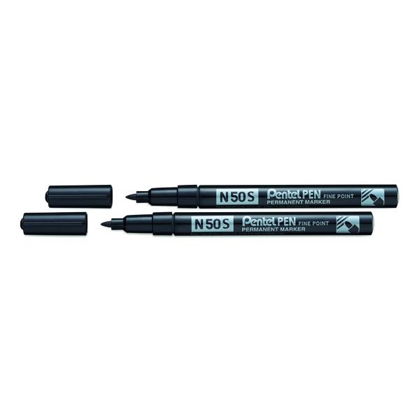 Pentel N50S Fine Permanent Marker Black (12 Pack) BOGOF PE811468